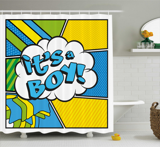 Pop Art Its Boy Shower Curtain