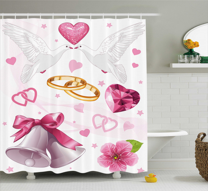 Wedding Rings Hearts Shower Curtain