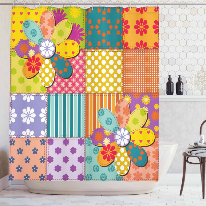 Flower Polka Dots Mix Shower Curtain