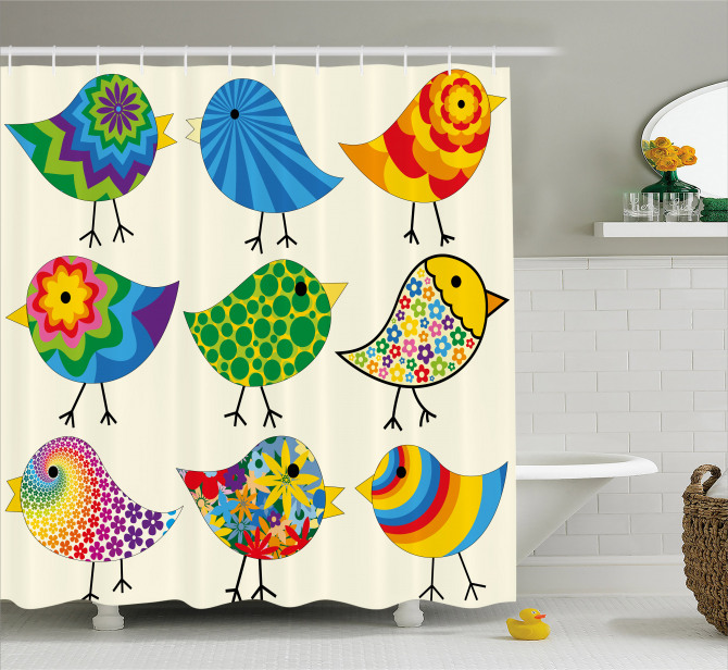Colorful Funky Birds Shower Curtain