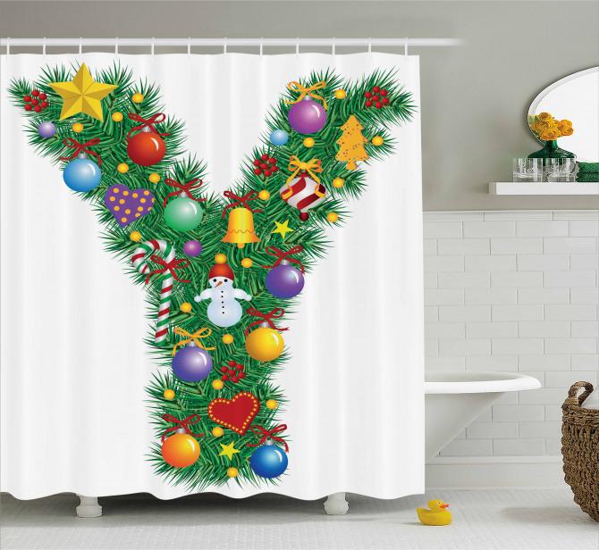 Hearts Balls Snowman Y Shower Curtain