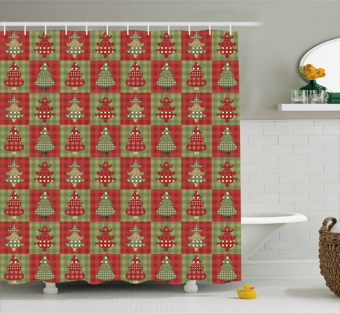 Noel Trees Quilt Shower Curtain