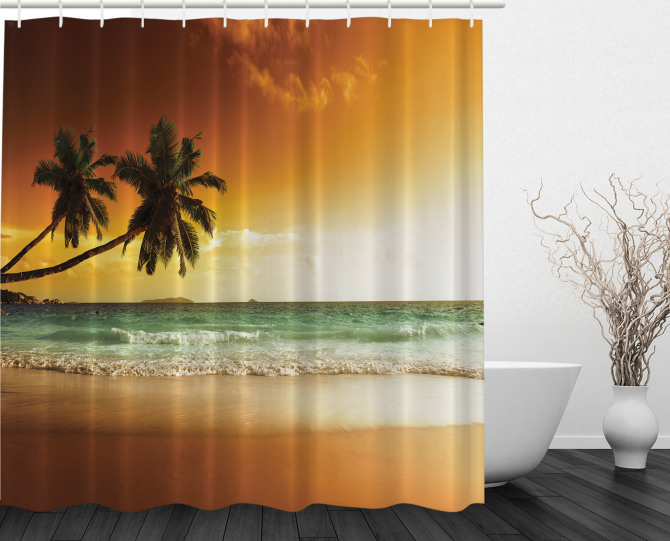 Palm Tree Exotic Beach Shower Curtain
