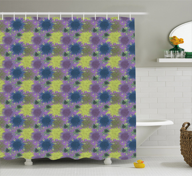 Vibrant Flowers Psychedelic Shower Curtain