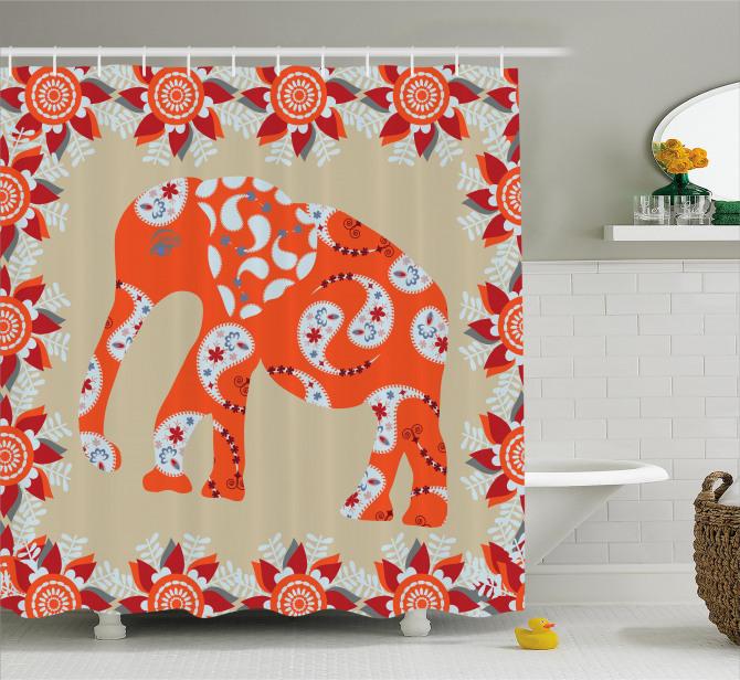 Turuncu Fil Desenli Duş Perdesi Çiçek Süslemeli