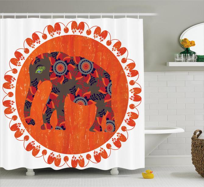 Fil ve Çiçek Desenli Duş Perdesi Turuncu Süslemeli