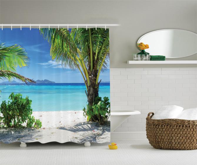 Tropikal Issız Ada Temalı Duş Perdesi Turkuaz Deniz