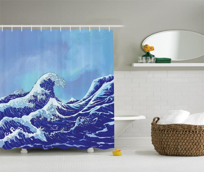 Lacivert Dalgalı Duş Perdesi Geleneksel Japon Çizimi