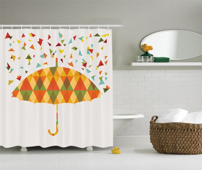 Sanat Temalı Duş Perdesi Rengarenk Sevimli Şemsiye