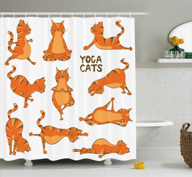 Yoga Yapan Sevimli Kedi Desenli Duş Perdesi Turuncu