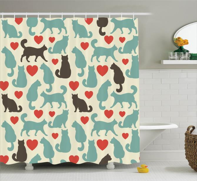 Romantik Kediler Temalı Duş Perdesi Aşk Kırmızı Bej