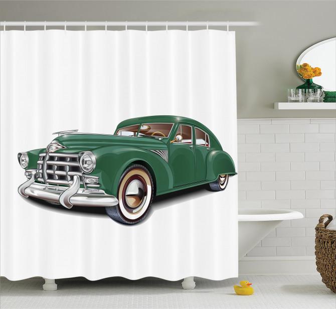 Nostaljik Yeşil Araba Desenli Duş Perdesi Klasik