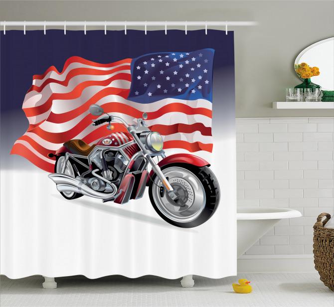 Motosiklet ve ABD Bayrağı Desenli Duş Perdesi