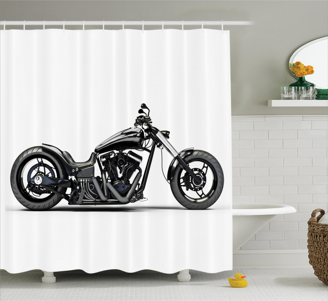 Siyah Motosiklet Desenli Duş Perdesi Beyaz Zemin