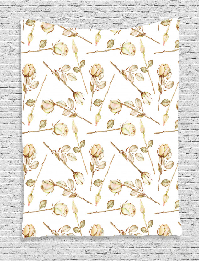 Sepia Roses with Leaves Tapestry
