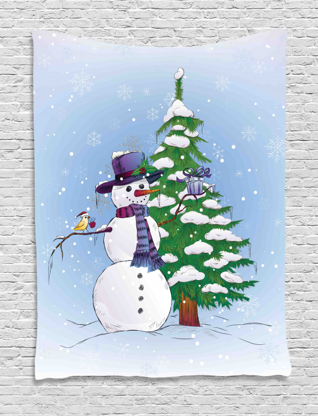 Snowman and Tree Tapestry