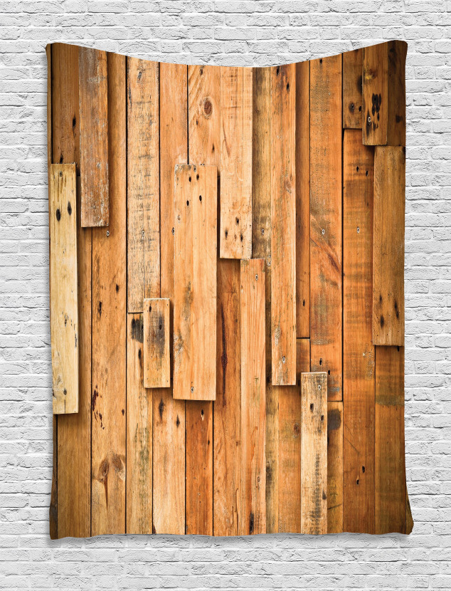 Lodge Wall Planks Print Tapestry