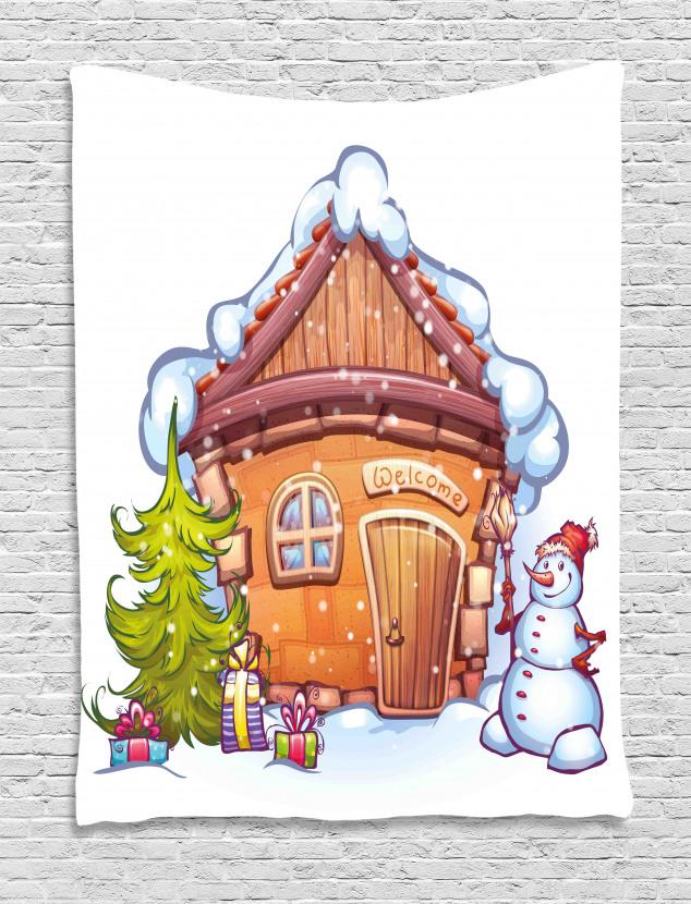 Cartoon Cute House Tapestry