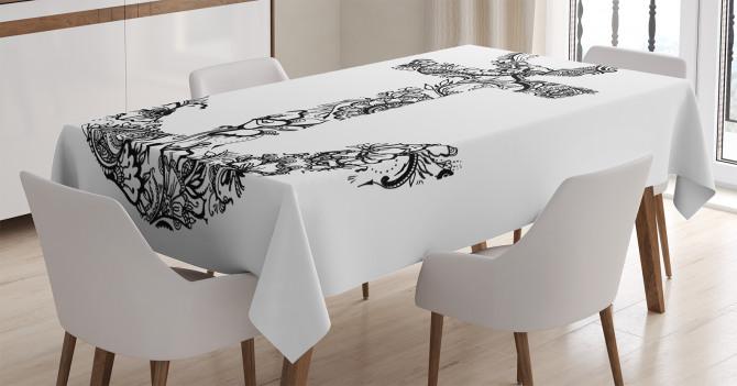 Çiçek Süslemeli Çapa Temalı Masa Örtüsü Siyah Beyaz