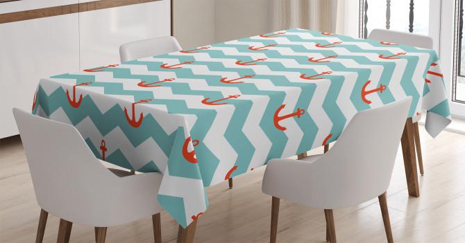 Çapa ve Zikzak Dalga Desenli Masa Örtüsü Mavi Beyaz