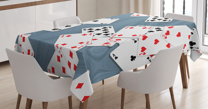 İskambil Kağıdı Temalı Masa Örtüsü Kırmızı Siyah
