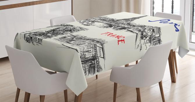 Paris Temalı Masa Örtüsü Elle Çizim Şık Tasarım