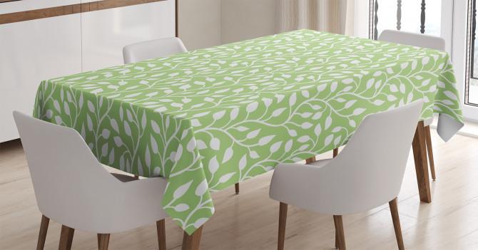 Yeşil Yaprak Desenli Masa Örtüsü Çeyizlik Trend