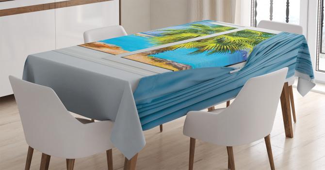 Pencereden Deniz ve Palmiye Temalı Masa Örtüsü Mavi