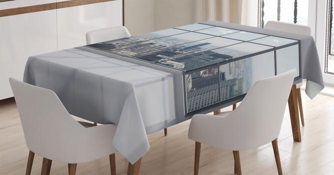 Gökdelen Manzaralı Masa Örtüsü Modern Şık Tasarım