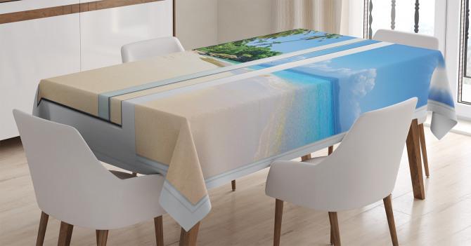 Kumsalda Güneşli Bir Gün Temalı Masa Örtüsü Egzotik