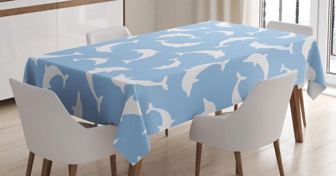 Beyaz Yunus Desenli Masa Örtüsü Mavi Arka Planlı