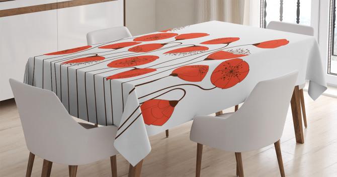 Gelincik Çiçeği Desenli Masa Örtüsü Şık Tasarım