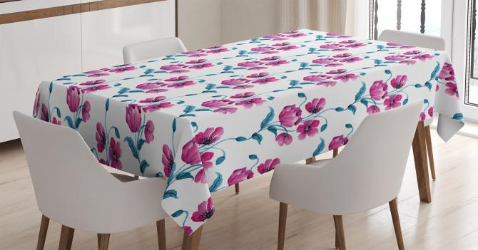 Pembe Çiçek Desenli Masa Örtüsü Trend Şık Tasarım