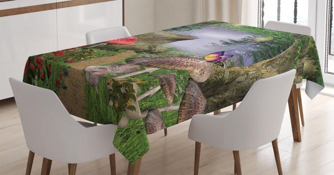 Büyülü Orman Temalı Masa Örtüsü Kelebek Mantar