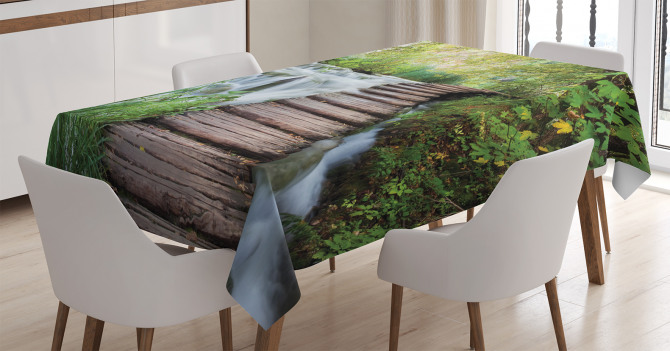 Çağlayan Manzaralı Masa Örtüsü Ağaçlar Yeşil Doğa