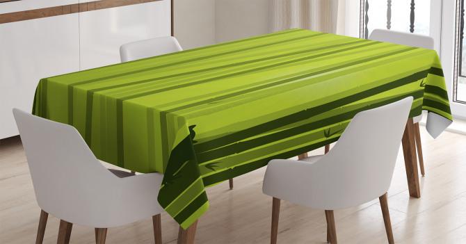 Bambu Desenli Masa Örtüsü Kedili Çizgili Yeşil