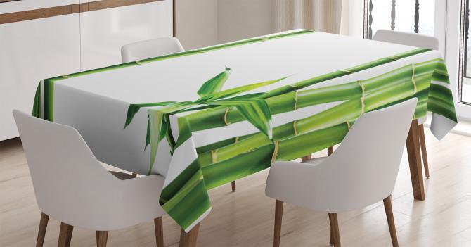 Bambu ve Yaprak Desenli Masa Örtüsü Yeşil Trend