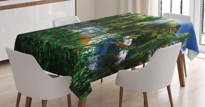 Issız Ada Manzaralı Masa Örtüsü Yeşil Mavi Deniz