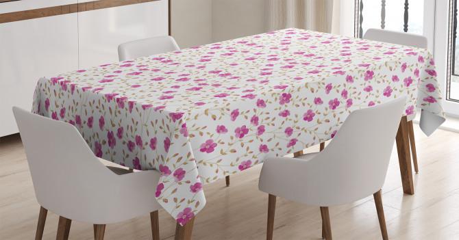 Pembe Çiçekli Masa Örtüsü Romantik Çeyizlik Trend