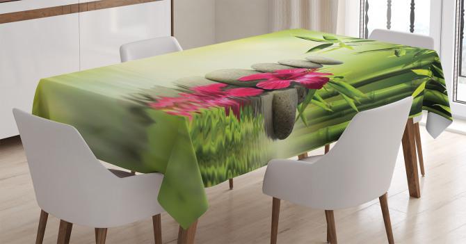 Sağlık Temalı Masa Örtüsü Masaj Bambu Kırmızı Çiçek