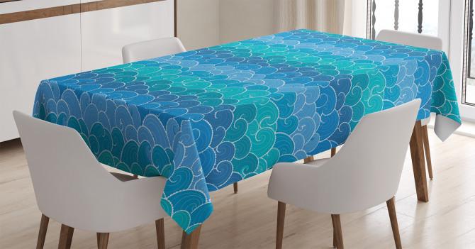 Mavi Dalgalar Desenli Masa Örtüsü Deniz Temalı Şık