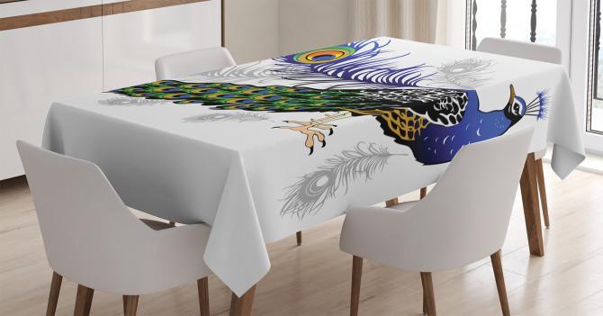 Tavus Kuşu Desenli Masa Örtüsü Beyaz Fon Şık Tasarım