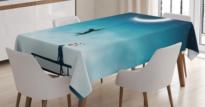 Aşk Temalı Masa Örtüsü Ay Gece Romantik Mavi