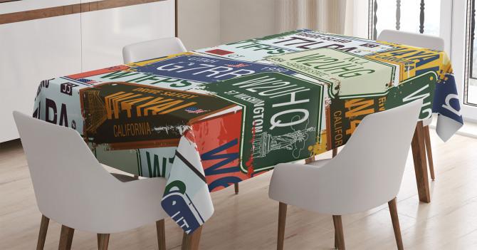 Retro Plaka Temalı Masa Örtüsü Rengarenk Şık