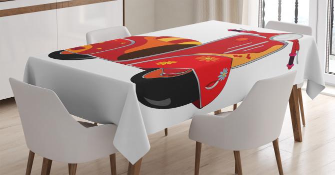 Hippi Temalı Masa Örtüsü Kırmızı Çiçek Motor