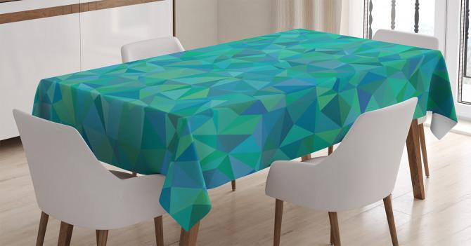 Üçgen Mozaik Desenli Masa Örtüsü Turuncu Yeşil