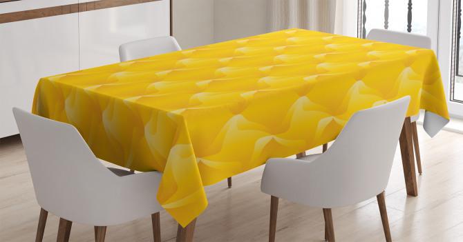 Sarı Dekoratif Desenli Masa Örtüsü Şık Tasarım