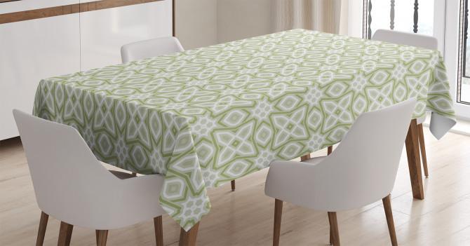 Yeşil ve Gri Geometrik Desenli Masa Örtüsü Beyaz Fon