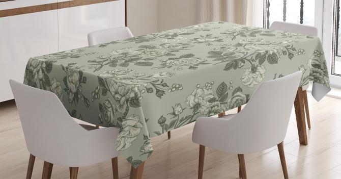 Yeşil Masa Örtüsü Şık Tasarım Retro Gül Desenleri
