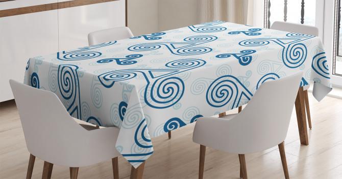 Mavi Üçlü Kelt Spirali Desenli Masa Örtüsü Geometrik